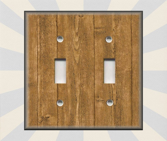 Metal Light Switch Plate Cover Wood Pattern Light Brown Etsy