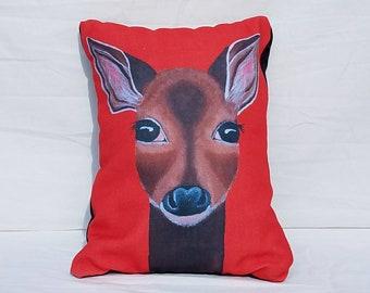 Deer Pillow, woodland animal, throw pillow, accent pillow, home decor, deer decor, spirit animal, decorative pillow, animal pillow, gift
