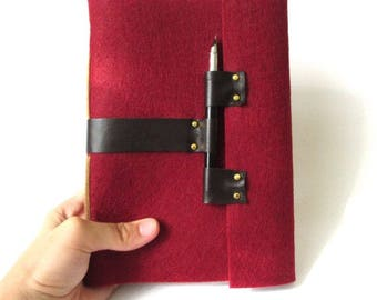 Notebook Red notebook Wool Felt Travelers notebook Handmade journal Red journal A5 notebook Blank notebook Wedding planner Diary red Drawing