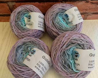 Cotton yarn, hand dyed yarn, dk weight cotton yarn, pink, grey and pale turquoise blue gradient yarn, 50g, 70m ball