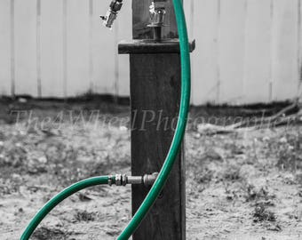 Black and White Photograph of Water Fountain with Green Hose, Country, Playground, Children, holiday