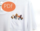 PDF DIGITAL Pattern Wild Flowers DIY - Thread Unraveled - Beginner Embroidery Pattern - Embroidered Shirt - T-Shirt