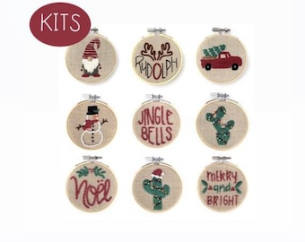 Ornament DIY KITS Embroidery -- Christmas Ornaments -- Beginner Embroidery Kit --Thread Unraveled