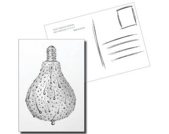 Postcard PERSPIRATION//sweating light bulb