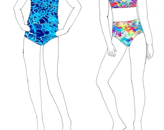 Girls Plus Size 2-Piece Swim Suit With Optional Tankini Downloadable Sewing Pattern - Sizes 8 - 10 - 12