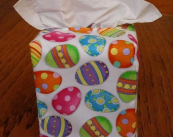 Square Handmade Free Shipping Glittering Colorful 4 Leaf Clovers on White Fabric Tissue Box Cover Tissue Box Cover
