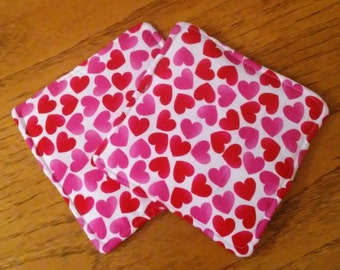 """Potholders, Hot Pads, Trivets, Set of 2 Red And Pink Hearts on White Fabric 7 1/2"""" Square Pot Holders, Kitchen Decor, Handmade"""