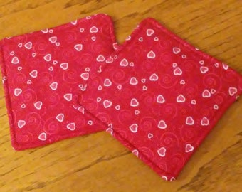 """Potholders, Hot Pads, Trivets, Set of 2 Glittering Pink Hearts And Swirls On Red Fabric 7 1/2"""" Square Pot Holders, Kitchen Decor"""