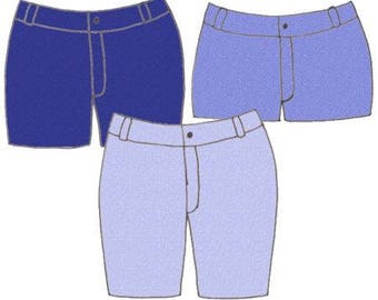 Plus Size Girls Denim Jean Shorts PDF Sewing Pattern, Sizes 8-10-12