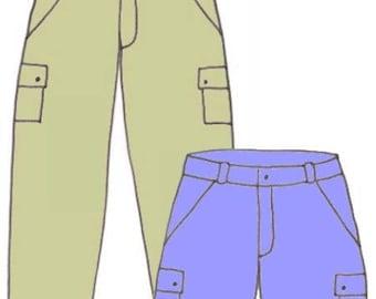 Plus Size Girls Carpenter Pants and Carpenter Shorts PDF Sewing Pattern, Sizes 8-10-12
