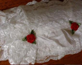 Tissue Box Cover, Rectangle, Beautiful White Lace Tissue Box Cover, Lace Tissue Box Cover With Red Roses, Lace Rectangular Tissue Box Cover