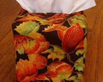 Tissue Box Cover, Square, Falling Leaves On Brown Square Tissue Box cover, Fall Decor Tissue Box Cover