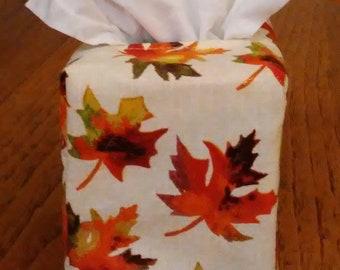 Tissue Box Cover, Square, Glittering Colorful Leaves Square Fabric Tissue Box Cover, Square Tissue Box Cover,  Fall Decor, Free Shipping
