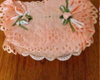Tissue Box Cover, Rectangle, Orange Lace Tissue Box Cover, rectangular tissue box cover, Handmade, Free Shipping