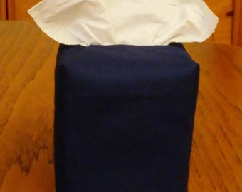 Tissue Box Cover, Square, Navy Blue Fabric Square Tissue Box Cover, Handmade, Free Shipping