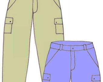 Plus Size Girls Carpenter Pants and Carpenter Shorts PDF Sewing Pattern, Sizes 14-16