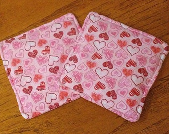 """Potholders, Hot Pads, Trivets, Set of 2 Glittering Pink And Red Hearts On Pink Fabric 7 1/2"""" Square Pot Holders, Kitchen Decor, Handmade"""