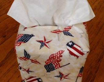 Tissue Box Cover, Square, Patriotic Americana Stars and Flags Square Fabric Tissue Box Cover, Flags Tissue Box Cover, Free Shipping