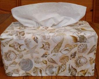 Tissue Box Cover, Rectangle, Packed Sea Shells Design Fabric Rectangular Tissue Box Cover, Beach Decor Tissue Box Cover, Handmade