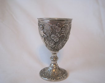 Renaissance-Style Mid-Century Modern English/American Silverplate Pedestal Cordial/Small Goblet by Corbell & Co.