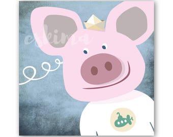 Illustration swine as a poster for children