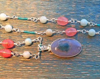 Scenic Dendritic Agate Necklace with HandMade Wire Chain.