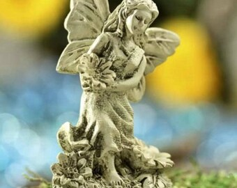 Yard U0026 Garden Miniature Fairy Garden Statue   Antiqued Ivory Resin   Angel  Girl Faux