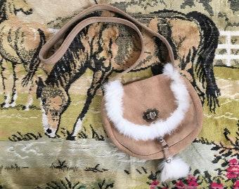 Buckskin and rabbit trim purse