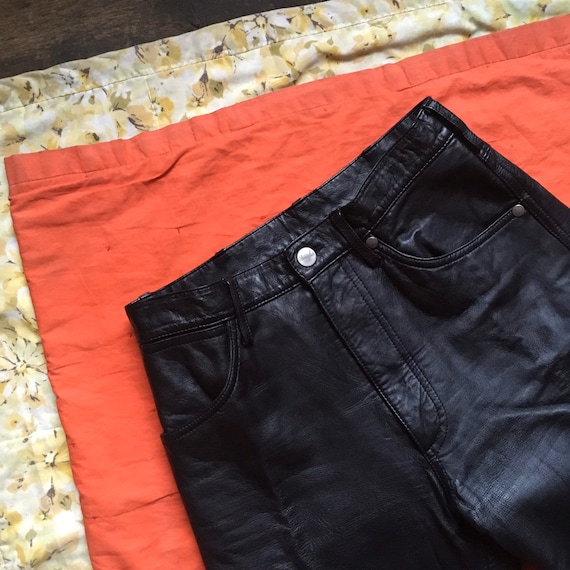 90s Leather WRANGLER pants // Size 27 x 28 // High