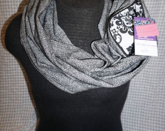 Black and Gray Herringbone Scarf has a hidden zipper pocket