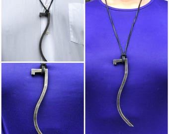 "Stylized ""7"" Steel Pendant Necklace"