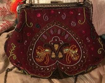 Gorgeous intricately beaded vintage gypsy boho handbag