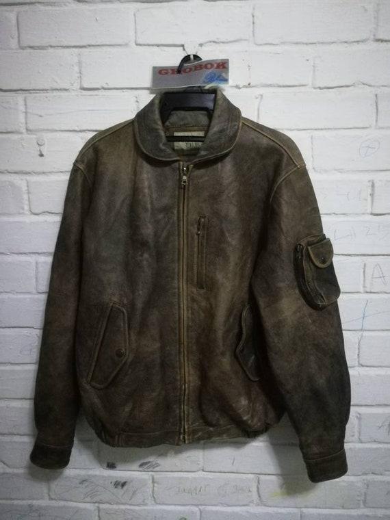 Vintage Argyle Club leather jacket