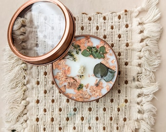 Organic Soy Candle Pressed Flower and Botanics in Rose Gold tin 2oz