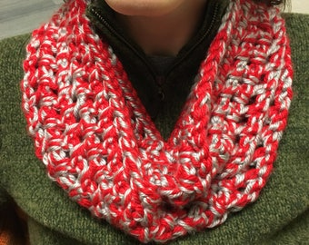 Red and Grey OSU Crochet Infinity Scarf