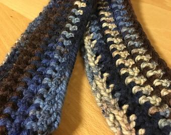 Blue Multicolored Crochet Infinity Scarf