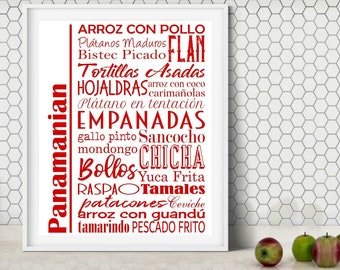Panama Food Sign Poster   Traditional Panamanian Dishes   Multiple Sizes and Colors   Unframed Matte Paper Print