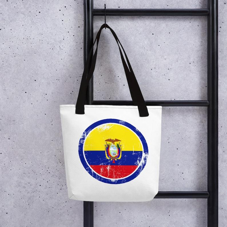 Circle Flag Shoulder Bag Ecuador Tote Bag Distressed Flag Handbag