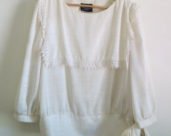 Vintage Ivory Lace Blouse Shirt- Tie, Sleeve, Bib 70s 80s