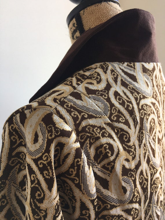 vintage green embroidered jacket  short cropped paisley jacket  50s 60s granny jacket  fits like s