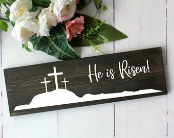 Easter home decor sign, He is Risen farmhouse wood sign, Christian inspirational wall decor