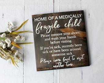 81a79d898de7 Seconds: Medical alert fragile child wood sign for special need parent,  clean your hands