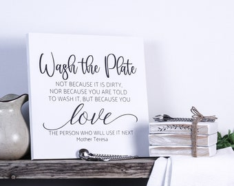 Wash the plate wood sign, inspirational quote Mother Theresa, kitchen wood sign, farmhouse sign, family sign