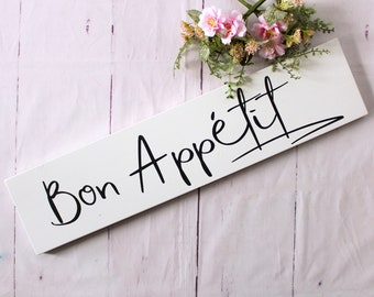 Bon Appetit wood sign, French kitchen sign,  hand painted for kitchen or dining room, makes a perfect housewarming gift