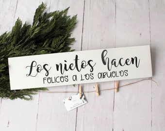 Grandchildren sign in Spanish, Abuela Gift, Spanish wood sign, grandparents gift, grandparents gift