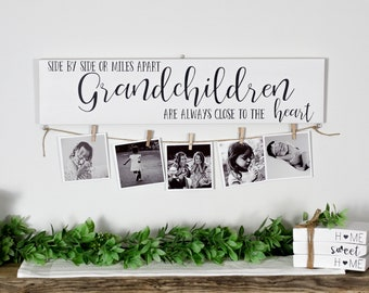 Grandchildren Wood Sign Side by Side or Miles Apart, Always Close to the Heart, Gift for Grandparents. Grandkids Family Great Grandchildren