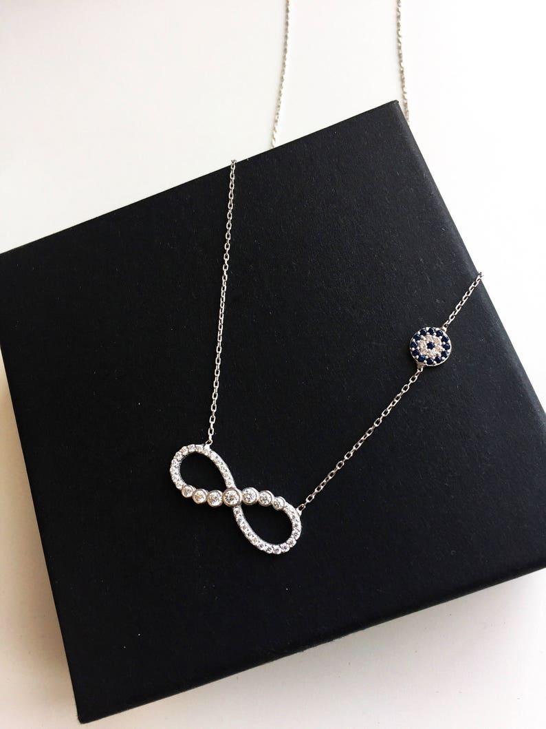 Petit Flower Mom Friendship Birthday Gift Infinity,Minimal Sister Evil Eye Jewelry Dainty Jewelry