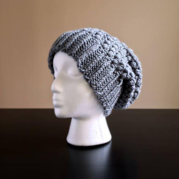 abe7d1308b0 Grey Puff Stitch Crochet Slouchy Beanie Handmade Hat