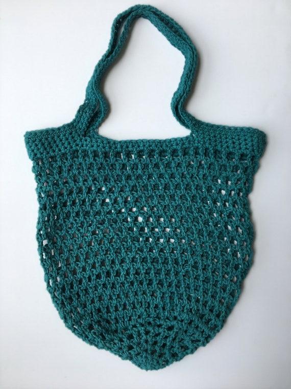 Teal Crochet Mesh Market Tote Handmade Reusable Grocery Bag Etsy Stunning Crochet Mesh Market Bag Pattern