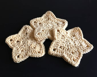 Starshine Crochet Coasters - Set of 6 - Handmade Cotton Star Home Decor